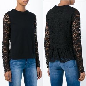Tory Burch Black Wool Lace Mixed Media Sweater